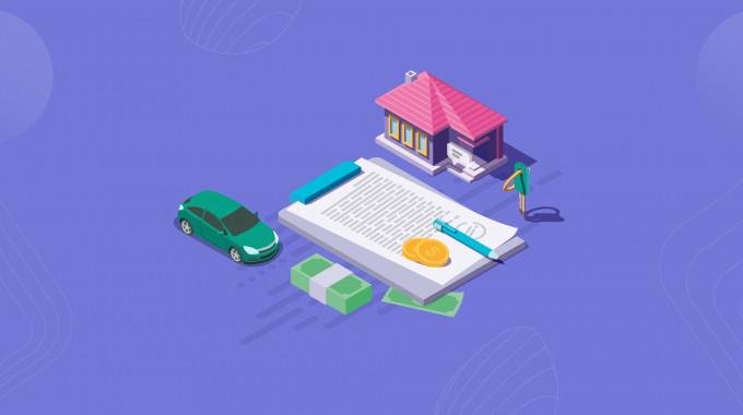 An instalment loan document with car, house, cash
